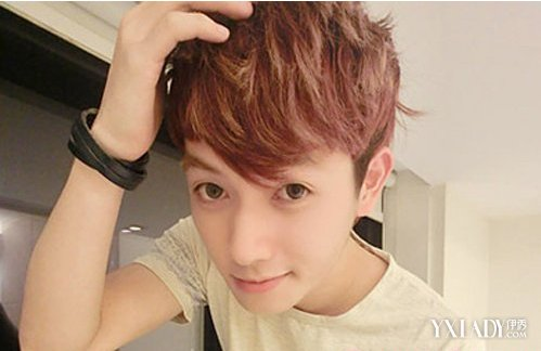 短发发型+尖脸型+微卷+丹红发色=自恋傻气气质发型  微卷短发是今年男图片