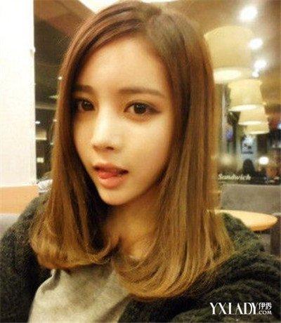 【图】发型长斜刘海内扣中长图片欣赏 (400x460)图片