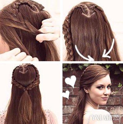 看心形辫子发型图解 diy甜美发型图片