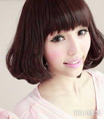 【图】齐刘海齐肩短发内卷发型女图片 (350x400)图片