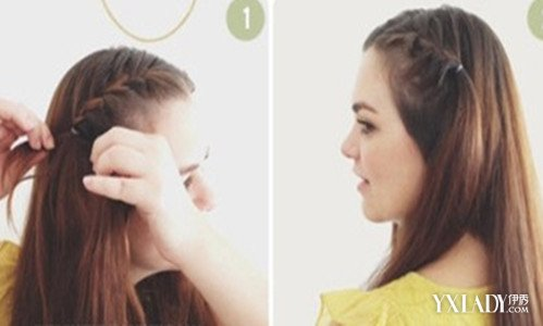 刘海 刘海处/步骤1:首先将刘海处的头发分好,从右侧的刘海开始,取出三股,...