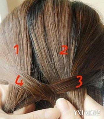 发型 diy发型 正文  简单蜈蚣辫编法图解3,如图上,3和4股交叉之后把4