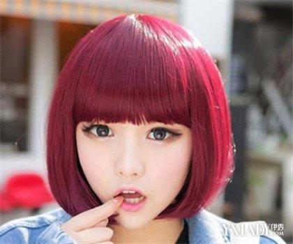 【图】浅酒红色发型图女大推荐 打造潮流美女范