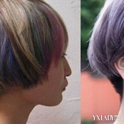 挑染发型女士短发图片