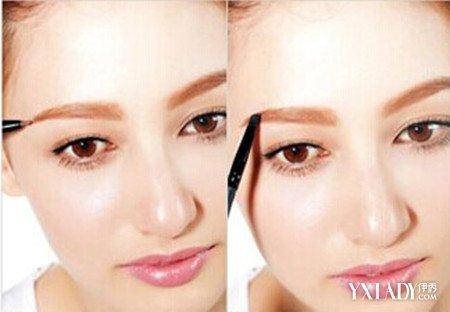图解 一字/第六步:脸长的MM可以将眉毛画宽一点,这样才能缩短脸型。