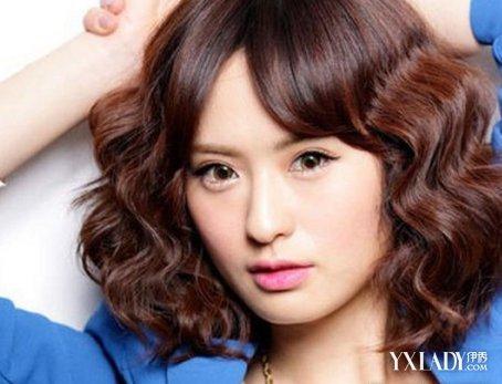 【图】水图片短头发海图四款欧美塑小V脸型(波纹斜卷刘发型片中长发图片