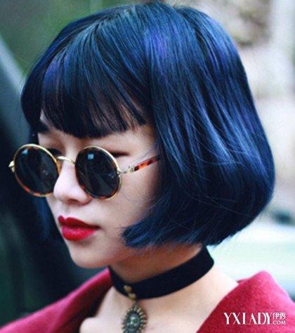 【图】炫黑蓝色头发v蓝色黑短发蓝色发型更显1女神打理图片