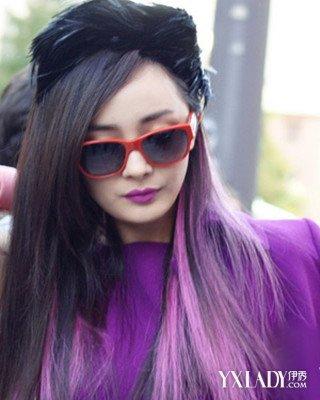黑深紫色头发效果图图片