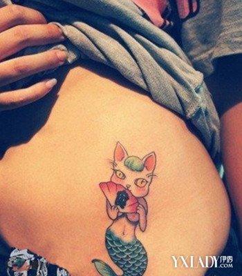 唯美女生腹部小动物纹身图案四:狐狸美人鱼尾-纹身图案大全图片女