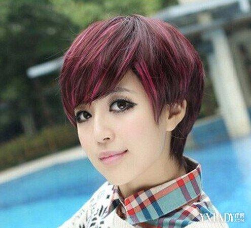 发型 流行发型 正文  这是一款蓬松式的女生的短发发型,头发作的是酒图片
