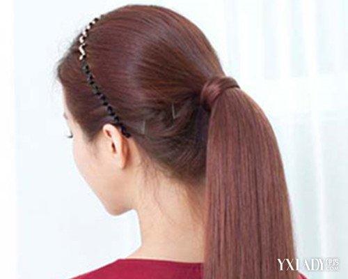 女生中分马尾辫发型扎法图片