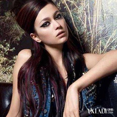 【图】黑色挑染酒红色头发图片示例图片