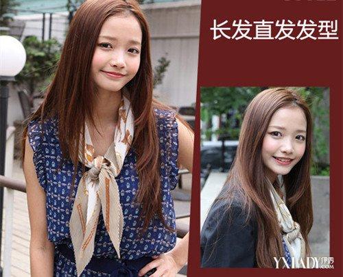 发型 流行发型 正文  有层次的直发发型 这款是交错中分的长发直发图片