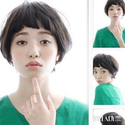 超短刘海短碎发发型头发颜色:黑色 点评:超短刘海设计的一款短碎发