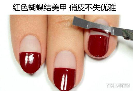 【图】美甲图片红色款式 蝴蝶结美甲俏皮不失优雅