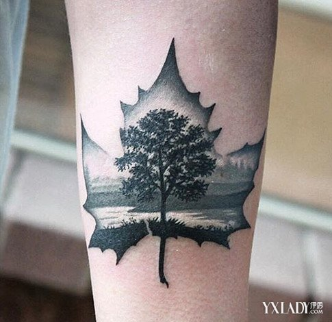 树叶纹身图案火爆INS 看看潮人们都把它纹在哪图片