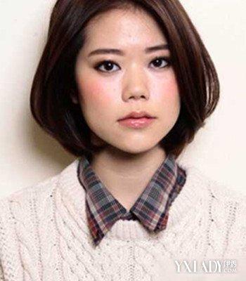 圆脸女生适合的短发发型三,三七分内扣短发