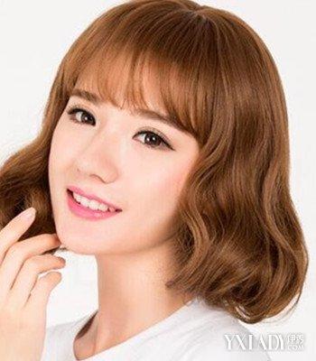 女生圆脸中短发烫发发型推荐 减龄修颜显优雅知性气质图片