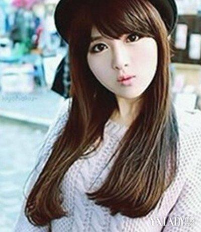 齐刘海的长发直发发型图片