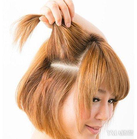 【图】中大头介绍型号短发编发四步简单教程红米发型教程图片