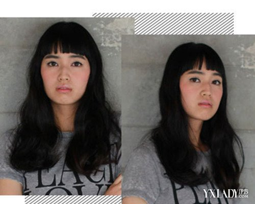 国字脸额头窄女生适合的发型展示 蓬松卷发修颜图片