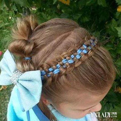 发型 diy发型 正文  儿童丝带编发图片4:蓝色丝带盘发这款儿童丝带