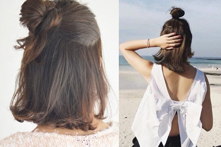 【图】短发半丸子头扎法图解 简单一分钟就能搞定_扎