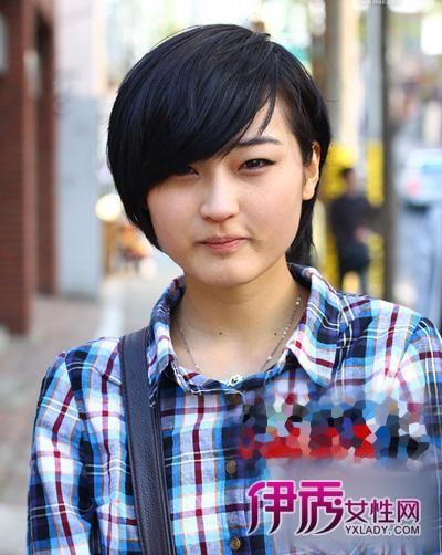 大饼脸伤不起 韩国大脸圆脸mm短发发型图片