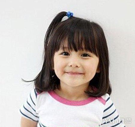 儿童是天真无邪无忧无虑的一代,这款齐刘海的齐肩韩国女宝宝短发扎法图片