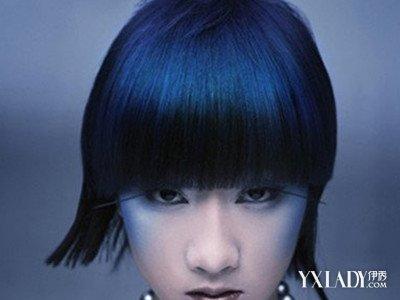 蓝黑色头发效果图图集 染发应注意的事项图片