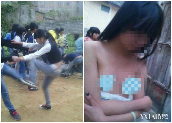 【组图】广西女生打架扒衣袭胸踢下体