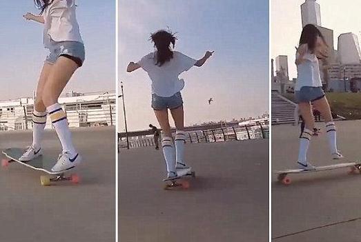 【图】韩国滑板女神高孝周 瘦腿方法做美腿女神