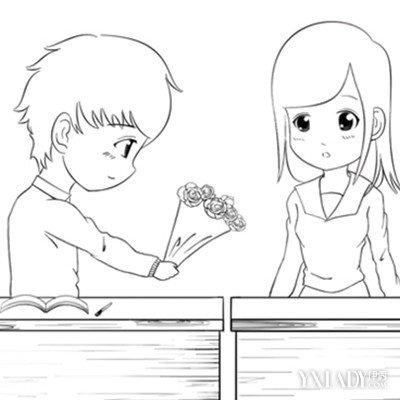 男生向女生表白图片简笔画