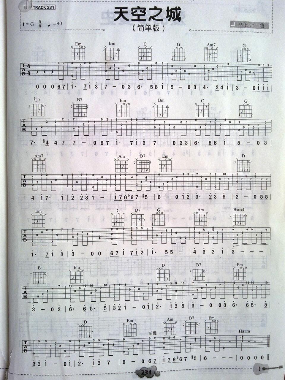 单弦吉他谱_吉他单弦_天空之城吉他单弦谱