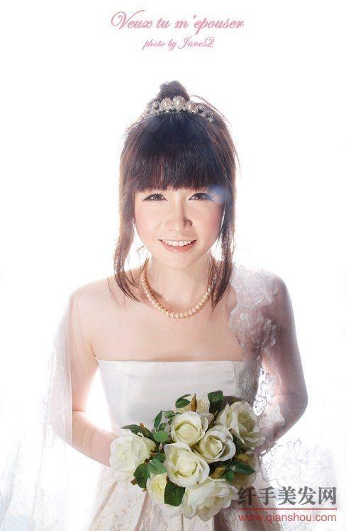 【图】齐刘海新娘发型图片_如何