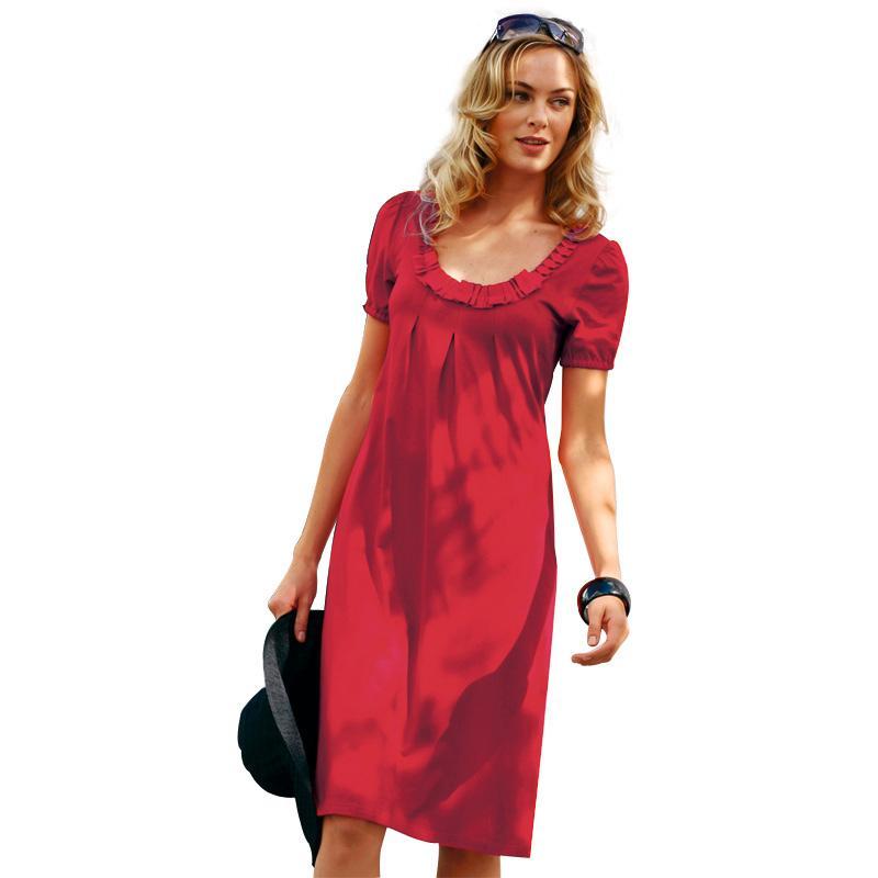 红色连衣裙的搭配_橘红色连衣裙