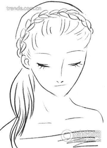 背面头发手绘图