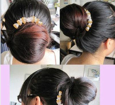 长直发怎么扎花苞头 简单5步骤_发型设计图片