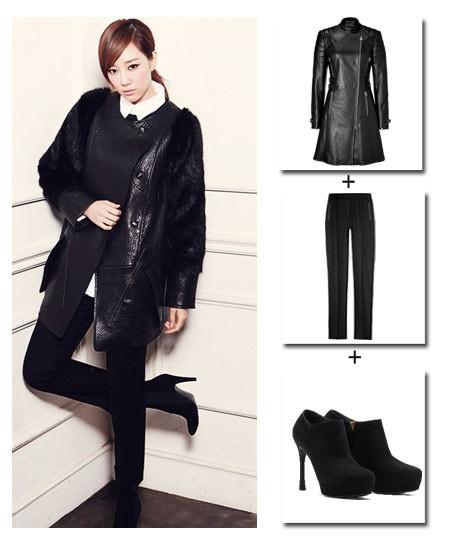 冬季黑色外套搭配
