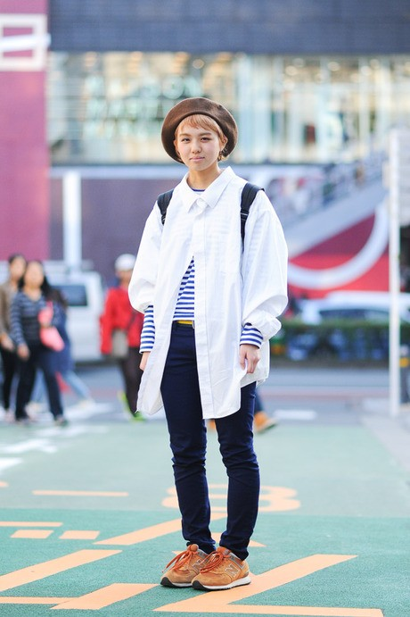 日本街拍  白衬衣七十二变 总有新奇搭配法_日韩街