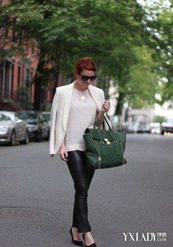 街拍黑裤美女大图欣赏 彰显帅气个性图片
