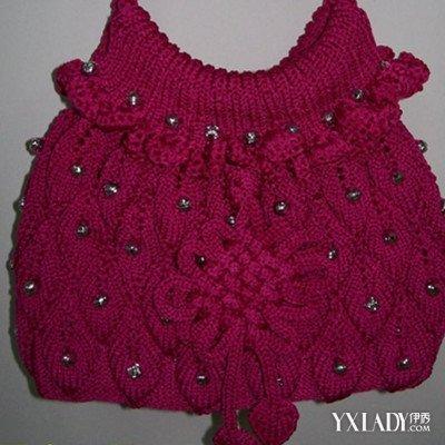 毛线编织珠子包包图片欣赏 一款手提包的简单织法
