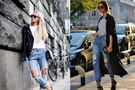 【图】破洞牛仔裤街拍穿出最时尚的牛仔风