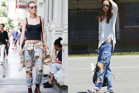 破洞牛仔裤街拍教你今夏最IN牛仔裤的穿法