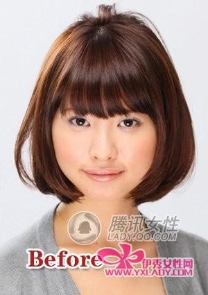 基本发型样式:发尾低于前下巴的长齐流海BOB短发-3款BOB俏短发 图片