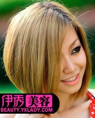 斜刘海短发发型图片-短发发型图片 打造小清新女生发型图片