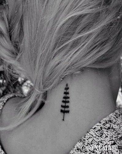 颈部纹身图案女 马尾搭配上这些更性感图片