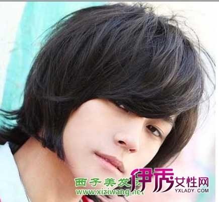男生斜刘海发型图片 2012男生刘海长发发型